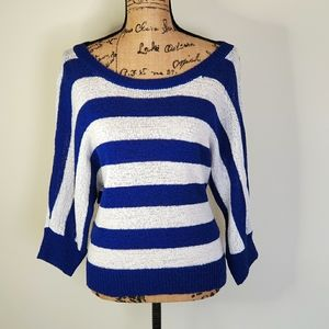 WDNY Striped Dolman Sleeve Sweater Blue Size XL